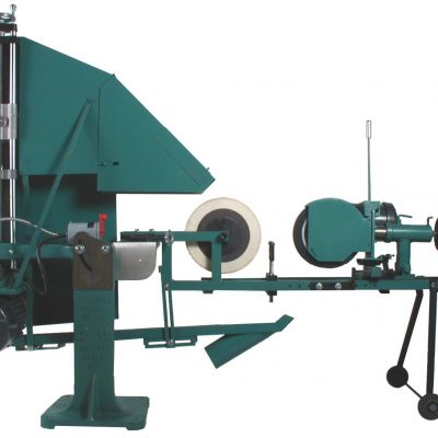 The Bader Wheel Centerless polishes the OD of a pipe and tube using non-woven abrasive wheels or wire brushes.